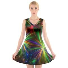 Colorful Firework Celebration Graphics V Neck Sleeveless Skater Dress