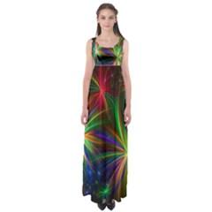 Colorful Firework Celebration Graphics Empire Waist Maxi Dress