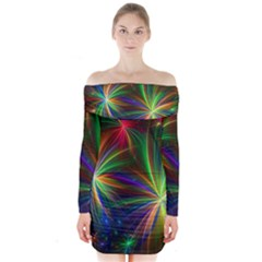 Colorful Firework Celebration Graphics Long Sleeve Off Shoulder Dress