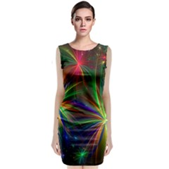 Colorful Firework Celebration Graphics Sleeveless Velvet Midi Dress