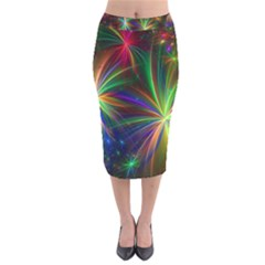 Colorful Firework Celebration Graphics Velvet Midi Pencil Skirt