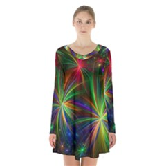 Colorful Firework Celebration Graphics Long Sleeve Velvet V Neck Dress