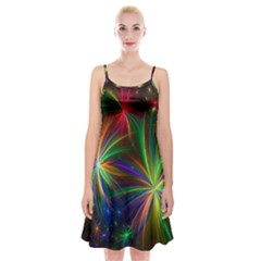 Colorful Firework Celebration Graphics Spaghetti Strap Velvet Dress