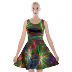 Colorful Firework Celebration Graphics Velvet Skater Dress