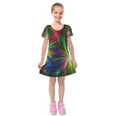 Colorful Firework Celebration Graphics Kids  Short Sleeve Velvet Dress