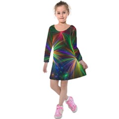 Colorful Firework Celebration Graphics Kids  Long Sleeve Velvet Dress