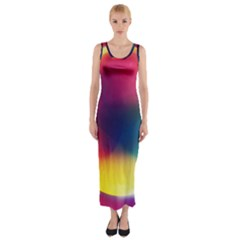Colorful Glowing Fitted Maxi Dress
