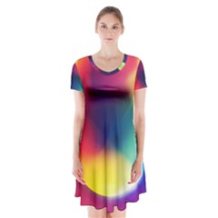 Colorful Glowing Short Sleeve V-neck Flare Dress