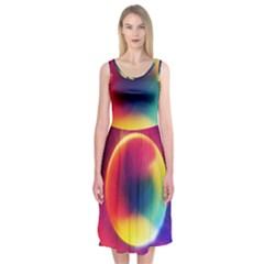 Colorful Glowing Midi Sleeveless Dress