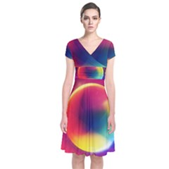Colorful Glowing Short Sleeve Front Wrap Dress