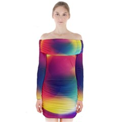 Colorful Glowing Long Sleeve Off Shoulder Dress
