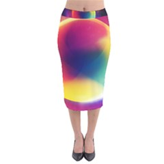 Colorful Glowing Velvet Midi Pencil Skirt