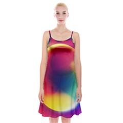 Colorful Glowing Spaghetti Strap Velvet Dress