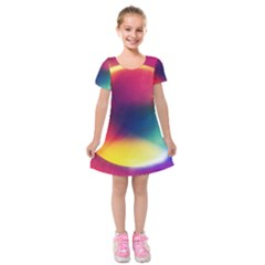 Colorful Glowing Kids  Short Sleeve Velvet Dress