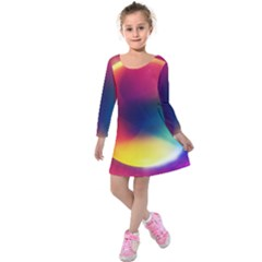 Colorful Glowing Kids  Long Sleeve Velvet Dress
