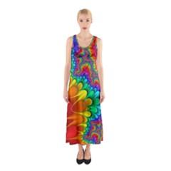 Colorful Trippy Sleeveless Maxi Dress