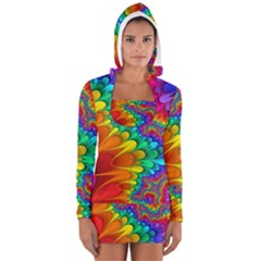 Colorful Trippy Women s Long Sleeve Hooded T-shirt