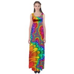 Colorful Trippy Empire Waist Maxi Dress