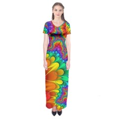 Colorful Trippy Short Sleeve Maxi Dress
