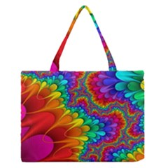 Colorful Trippy Medium Zipper Tote Bag