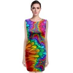 Colorful Trippy Sleeveless Velvet Midi Dress