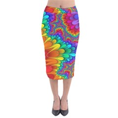 Colorful Trippy Velvet Midi Pencil Skirt