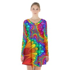 Colorful Trippy Long Sleeve Velvet V Neck Dress