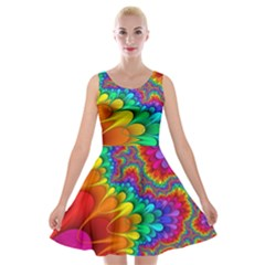 Colorful Trippy Velvet Skater Dress