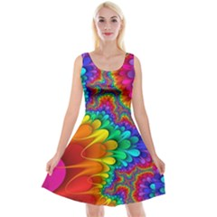 Colorful Trippy Reversible Velvet Sleeveless Dress