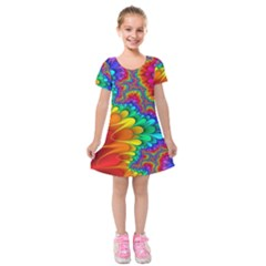 Colorful Trippy Kids  Short Sleeve Velvet Dress