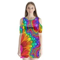 Colorful Trippy Shoulder Cutout Velvet  One Piece