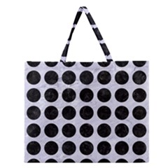 CIR1 BK-WH MARBLE (R) Zipper Large Tote Bag