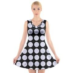 CIR1 BK-WH MARBLE V-Neck Sleeveless Skater Dress