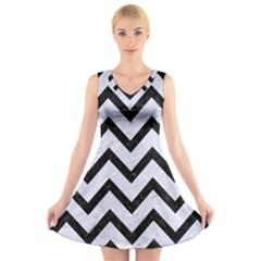 CHV9 BK-WH MARBLE (R) V-Neck Sleeveless Skater Dress