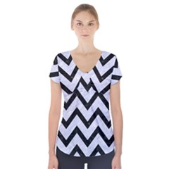 CHV9 BK-WH MARBLE (R) Short Sleeve Front Detail Top