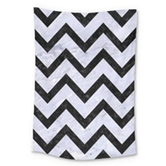 Chevron9 Black Marble & White Marble (r) Large Tapestry