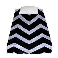 Chevron9 Black Marble & White Marble Fitted Sheet (single Size)