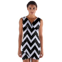 CHV9 BK-WH MARBLE Wrap Front Bodycon Dress