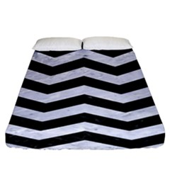 Chevron3 Black Marble & White Marble Fitted Sheet (king Size)