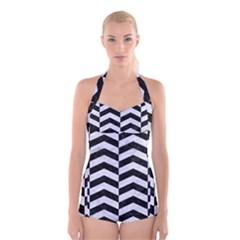 CHV2 BK-WH MARBLE Boyleg Halter Swimsuit