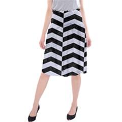 CHV2 BK-WH MARBLE Midi Beach Skirt