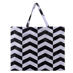 CHV2 BK-WH MARBLE Zipper Large Tote Bag