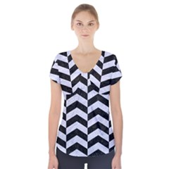 CHV2 BK-WH MARBLE Short Sleeve Front Detail Top