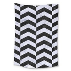 Chevron2 Black Marble & White Marble Large Tapestry