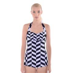 CHV1 BK-WH MARBLE Boyleg Halter Swimsuit