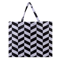 Chevron1 Black Marble & White Marble Zipper Large Tote Bag
