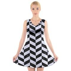 CHV1 BK-WH MARBLE V-Neck Sleeveless Skater Dress
