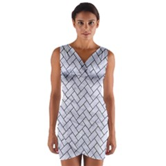 BRK2 BK-WH MARBLE (R) Wrap Front Bodycon Dress