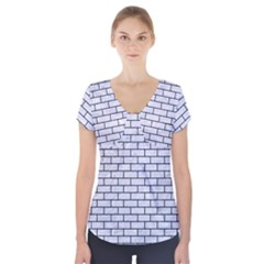 BRK1 BK-WH MARBLE (R) Short Sleeve Front Detail Top