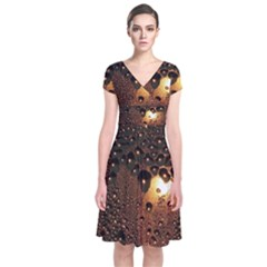 Condensation Abstract Short Sleeve Front Wrap Dress